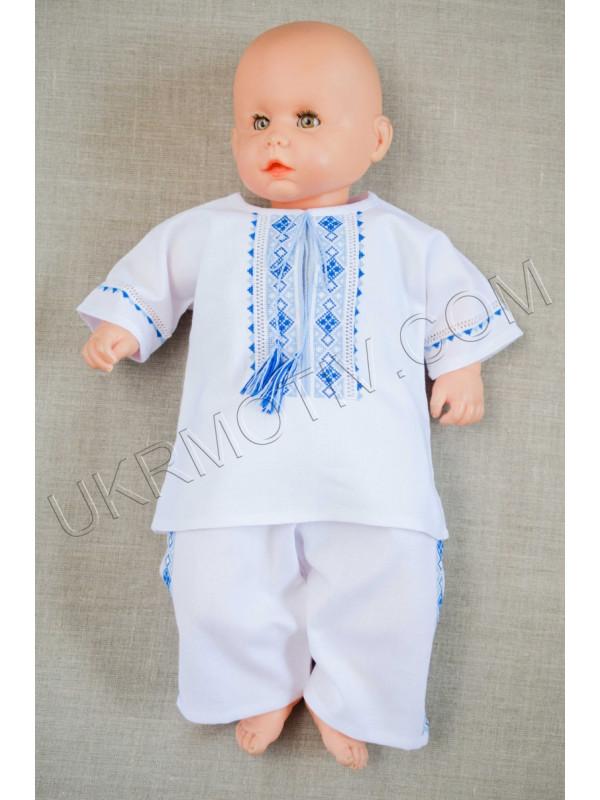 """Вишитий костюм для хлопчика """"Патріотичний"""" синьо-блакитний"""