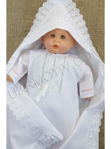 """Вышитый крестильный набор """"Белым по белому"""""""